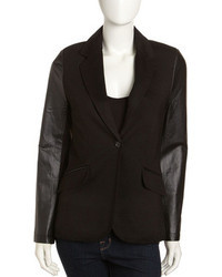 Neiman Marcus Leather Sleeve One Button Blazer Black