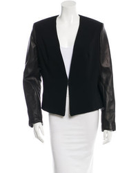 Rag & Bone Leather Trimmed Collarless Blazer