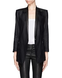 Nobrand Linen And Leather Trim Tuxedo Blazer