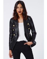c0df39cba926bc ... Missguided Bettie Faux Leather Blazer Black