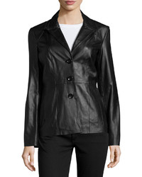 Neiman Marcus Fitted Leather Blazer Jacket Black