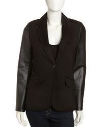 Neiman Marcus Leather Sleeve One Button Blazer Black