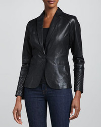 Neiman Marcus One Button Leather Blazer