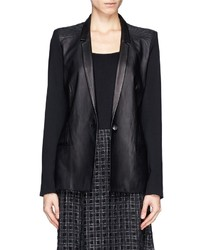 Nobrand Ink Leather Wool Combo Blazer