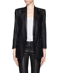 Nobrand Linen And Leather Trim Tuxedo Blazer