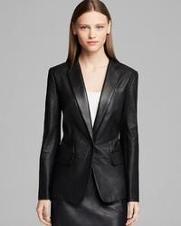 DKNY Notch Collar Perforated Leather Blazer