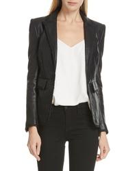 L'Agence Paulie Leather Tuxedo Jacket