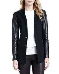 Theory Lavey Leather Sleeve Blazer