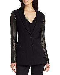 Theory Lavey Pryor Leather Sleeved Blazer