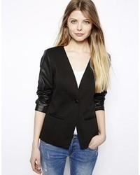 Vila Leather Look Sleeve Detail Blazer