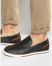 Aldo Montessoro Slipon Leather Boat Shoes