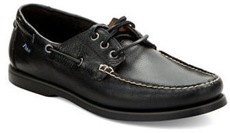 ... Black Leather Boat Shoes Polo Ralph Lauren Bienne Boat Shoes