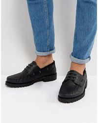 Asos Boat Shoes In Black Leather