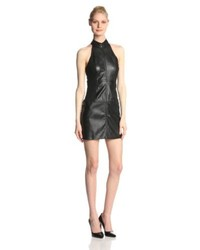 Above you faux leather halter dress black medium medium 102004
