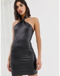 4134421953fc3c Missguided Faux Leather Halterneck Mini Dress In Black