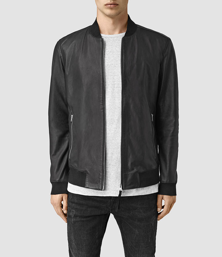 0f367375b $670, AllSaints Mower Leather Bomber Jacket