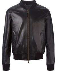 AMI Alexandre Mattiussi Leather Bomber Jacket