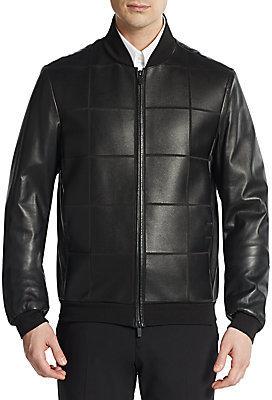 8b2884134 $2,895, Armani Collezioni Leather Grid Bonded Jacket
