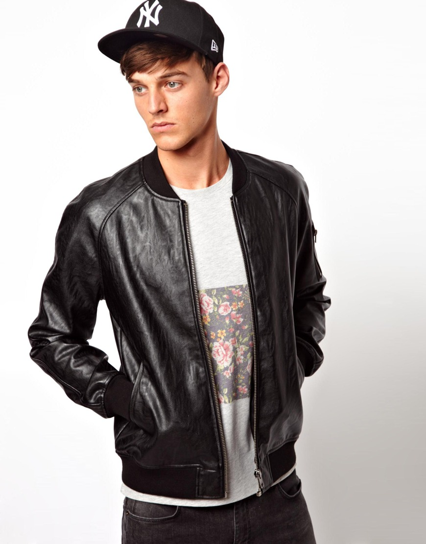 Asos Faux Leather Bomber Jacket Where To Buy How Wear Jaket Kulit Black Bikers Style