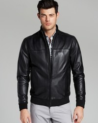 Theory Bane Rifle Leather Bomber Jacket