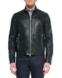Theory Basic Leather Jacket Black