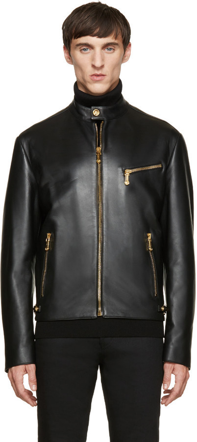 Versace Black Classic Leather Bomber | Where to buy & how to wear