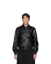 Random Identities Black Faux Leather Bomber Jacket