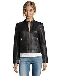 Cole Haan Black Lambskin Leather Zip Front Bomber Jacket