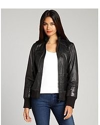 Marc New York Black Leather And Quilted Detail Nicki Bomber Jacket