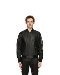 John Elliott Black Leather Bogota Bomber Jacket