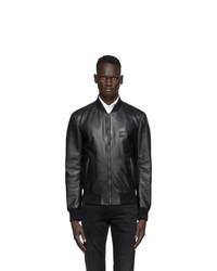 Dolce and Gabbana Black Leather Bomber Jacket