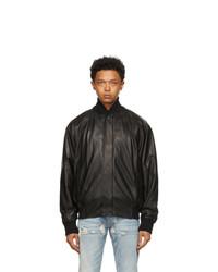 Fear Of God Black Leather Bomber Jacket