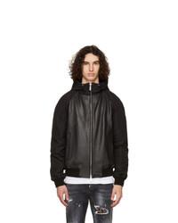 DSQUARED2 Black Leather Hooded Sport Jacket
