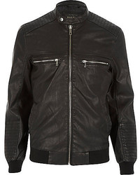 River Island Black Leather Look Bomber Jacket
