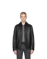 BOSS Black Leather Mupton Jacket