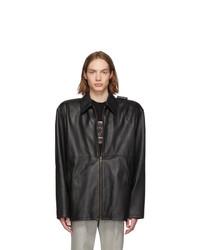Balenciaga Black Leather Tattoo Jacket
