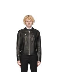 Maison Margiela Black Leather Zip Jacket