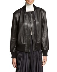 DKNY Bonded Leather Bomber Jacket Black