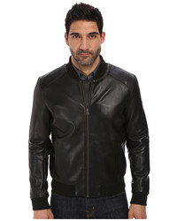 Cole Haan Bonded Leather Varsity Jacket With Raw Edges