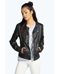 Boohoo Vicky Collarless Faux Leather Biker Jacket