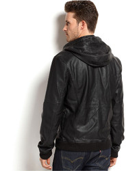 Calvin Klein Jeans Faux Leather Hooded Bomber Jacket | Where to