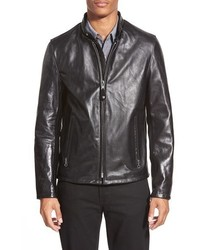 Casual cafe racer slim fit leather jacket medium 356504