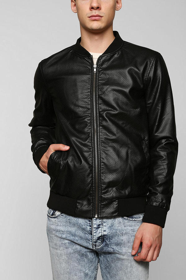 Urban Outfitters Charles 12 Perforated Faux Leather Bomber Jacket ...