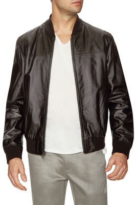 0e855abd2 $700, Cole Haan Leather Zip Front Bomber Jacket