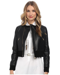 Dsquared2 Collarless Leather Bomber Jacket