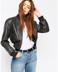 Women S Black Leather Bomber Jackets By Asos Women S Fashion
