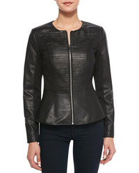 Neiman Marcus Cusp By Striped Front Leather Ponte Peplum Jacket Black