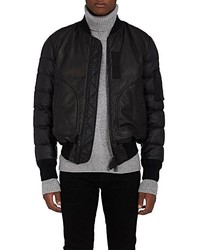 Moncler Down Filled Leather Tech Faille Bomber Jacket