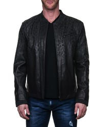 Maceoo Drips Leather Bomber Jacket