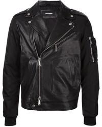 DSQUARED2 Bomber Sleeve Leather Jacket